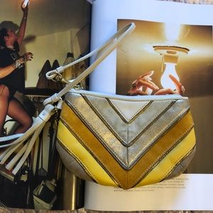 Vintage Gold Striped Coach Wristlet